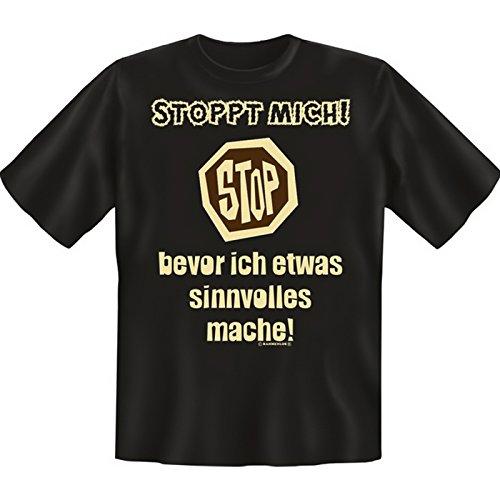 Originelles Funshirt! T-Shirt Set - Stoppt mich, bevor ich etwas sinnvolles mache! Plus gratis Gentleman Minishirt! Schwarz