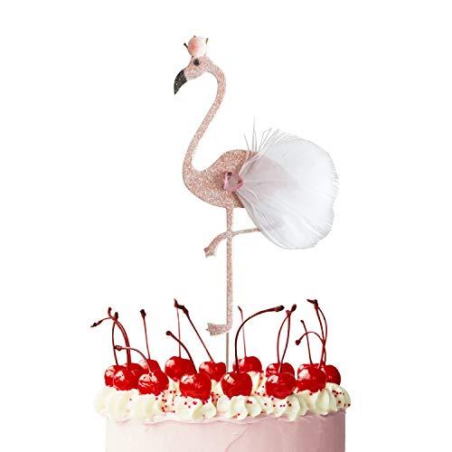 JINMURY 6 Stück Glitzer Flamingo Kuchendeckel Topper DIY Kuchen Topper Cocktail-Tipps für die Hochzeit Geburtstag Baby Dusche Luau-Party Strandparty Dekoration Lieferungen - Mittlere Größe Kuchen-tipp
