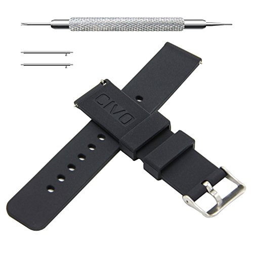 CIVO Quick Release Silicone Watch Bands Soft Rubber Watch Strap Smart Watch Band Stainless Steel Buckle 18mm 20mm 22mm (20mm, Black)