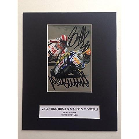 Edizione limitata Valentino Rossi Moto GP Marco Simoncelli firmato Photo Display + Cert 46autografo stampato Edizione Limitata
