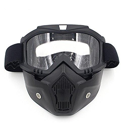 Gzq occhiali da moto con maschera staccabile, casco di sicurezza UV400antivento e antipolvere per motocross, moto,r snowboard, sci, ciclismo, arrampicata, equitazione e sport all'aria aperta, Clear