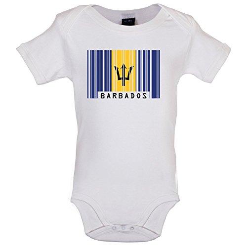 Barbados Barcode Flagge - Lustiger Baby-Body - Weiß - 6 bis 12 Monate