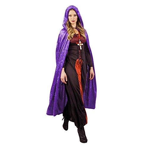 schwarz Kapuzen Mantel langer Samt Umhang mit Kapuze Robe für Halloween Kostüm Party Hexe Teufel Vampir Kleid (Lila) ()