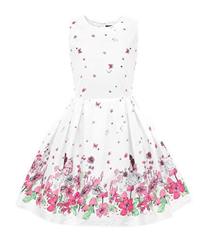 BlackButterfly Kinder 'Kira' Vintage Fairy Mädchen Kleid im 50er-J-Stil (Weiß, 9-10 J / 134-140) (Mädchen Kleid Kind)