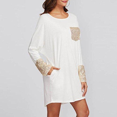 e083934570ccfc ... Longra Damen Kleid Pailletten Kleider Elegante Off Schulter Kleid Damen  Langarm Casual Lose T-Shirt ...