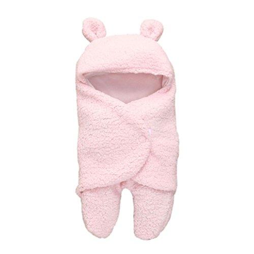 Kind Hoodie Lamm Decken, DoraMe Neugeborenes Baby Mädchen Jungen Schlafen Wrap Decke Fotografie Prop Unisex Kapzen Schlafsack (Rosa, 55cm*29cm) (Mädchen Disney Kleidung)