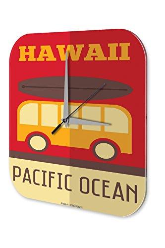 LEotiE SINCE 2004 Wanduhr mit geräuschlosem Uhrwerk Dekouhr Küchenuhr Baduhr Welt Reise Hawaii Wand Deko Uhr Vintage Retro