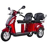 VELECO Electric Mobility Scooter for Two Double Seat ZT-18 1000W Two Storage Compartments (RED)