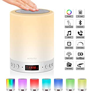 Urslif Lampe de Chevet LED Touch Portable Avec Enceinte Bluetooth Réveil Alarme Horloge FM Lecture de MP3 Support TF Carte AUX-IN USB Rechargeable Mains Libres