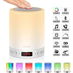 Urslif Lampe de Chevet LED Touch Portable Avec Enceinte Bluetooth Réveil Alarme Horloge FM Lecture de MP3 Support TF Carte AUX-IN USB Rechargeable Mains Libres