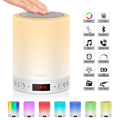 Myguru Lampe de Chevet Enfants Lampe Tactile LED Touch Portable Enceinte Bluetooth Lampe de Table Portables Réveil Alarme Horloge FM Lecture de MP3 Support TF Carte USB Rechargeable Mains Libres