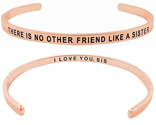 Glamour Girl Gifts Collection Inspirational Sister Armband - There is No Other Friends Like A Sister I Love You - SIS Mantra Manschette für Big Little Middle Sis Best Friends (Rotgold)