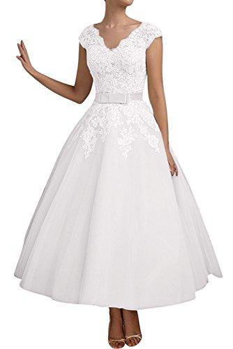 TOSKANA BRAUT Elegant Neu V-Neck Spitze Tuell Brautkleider Abendkleider WadenWadenlang Partykleider Ballkleid Weiß
