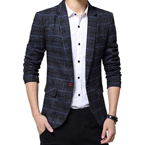 Giacca da Uomo Blazer Casuale Formale Giacca Slim da Uomo Retro One Button  Elegante Vestito di Affari Cappotto Giacca Blazers Business Casual ... a12e4cc3fa5