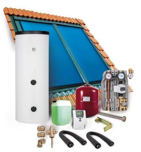Solaranlage Komplettpaket Warmwasser Indachkollektor Flachkollektoren 6,06m² Solarspeicher 300 l