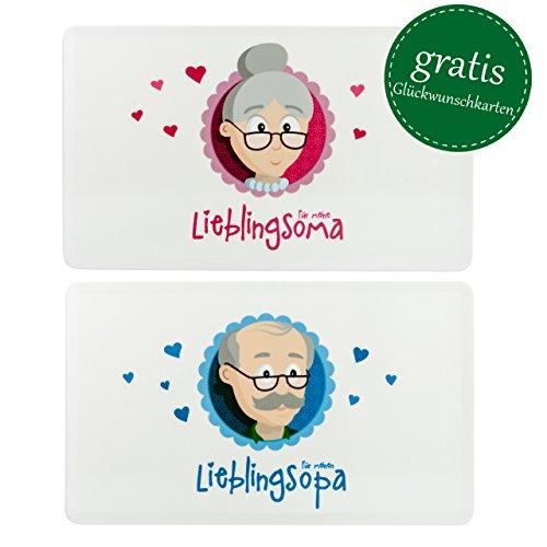MyOma Oma Opa Geschenkideen - Oma und Opa Frühstücksbrettchen - Oma Opa Schneidebrettchen spülmaschinenfest 25x15cm + Gratis Karten - Oma Opa Geschenkset Weihnachten Großeltern