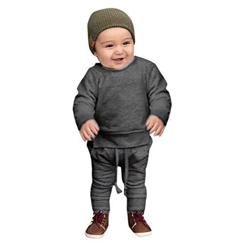 Duo Einfach Kostüm - Julhold Kleinkind Kinder Baby Jungen Mädchen Einfache Feste Oberteile Hosen Homewear Beiläufige Baumwolloutfits Sets 0-24 Monate