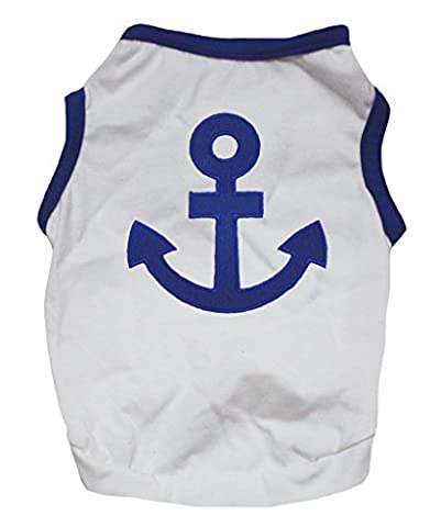 Petitebelle Pet Supply Sailor Anchor Blue White Cotton T-Shirt Novelty Dog Dress (Medium)
