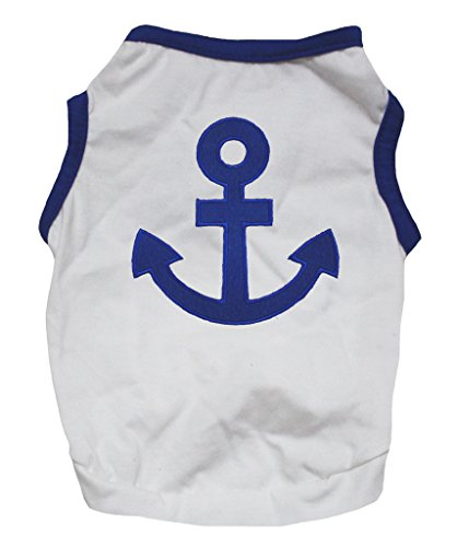 Petitebelle Pet Supply Sailor Anchor Blue White Cotton T-Shirt Novelty Dog Dress (Kostüm Schiffer)