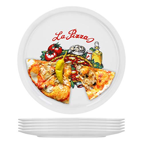 6er Set Pizzateller Napoli groß - 30,5cm Porzellan Teller mit schönem Motiv - für Pizza / Pasta, den 'großen Hunger' oder zum Anrichten geeignet