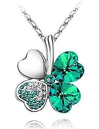 7796b9425a18 LCHNSXL Collar Cristal Austriaco 4 Hojas De Cuatro Hojas Trébol Colgante  Collares Joyería De Moda Encantos