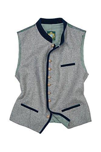 Hammerschmid Herren Trachtenweste grau-blau Marcel 114383 46 grau mit blauem Kragen