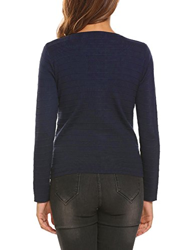 Finejo Damen Strickjacke Cardigan Strickmantel Pullover Feinstrick Strick Kurz Tops Outwear Hersbt Winter mit Reißverschluss Blau