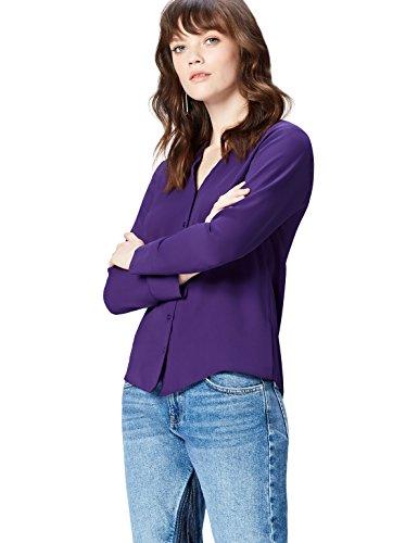 FIND Damen Bluse Button V neck, Violett (Violet Indigo), 36 (Herstellergröße: X-Small)