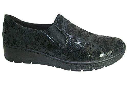 Jana 24701 Angus Modern Large Fit Mocassin en Tissu Noir Speckle 38 Black SPECKL