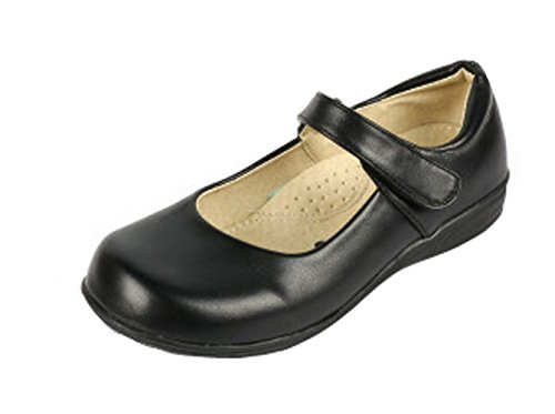 PPXID Girls Black Mary Jane School Uniform Shoes Ballet Flats(Little Kid/Big Kid) 2 UK Size