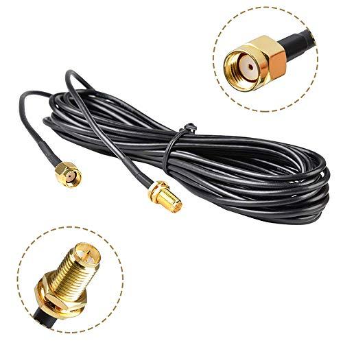 WayinTop 5 M Antena WiFi Extensión Cable RP-SMA Macho