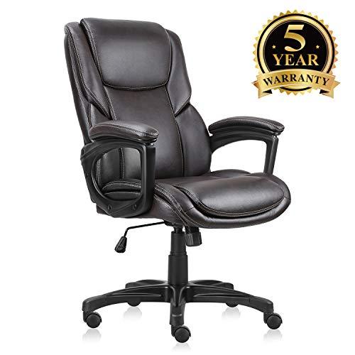 Bürostuhl mit braunem Leder, Drehstuhl, für Zuhause und Büro, ergonomischer Computerstuhl mit verstellbarem Sitz - Hohe Rückenlehne, Braunes Leder
