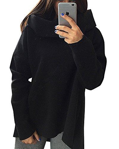 Femme Col haut Sweats à Capuche Manches Longues Casual Sweatshirts Chandail Pull Noir
