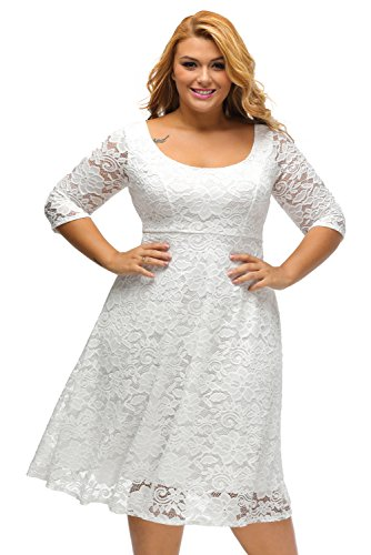 Plus Weiße Größe Hochzeits-kleider (Aleumdr Damen Plus Size Cocktail Kleider Spitze Blumen Partykleid Uboot Ausschnitt V-Rücken Weiß XX-Large)