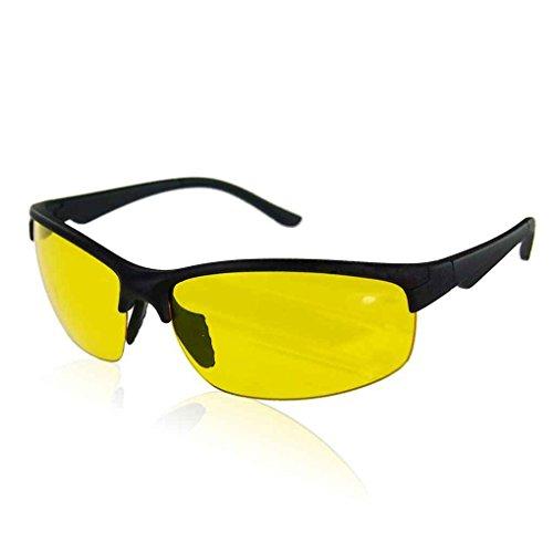 Meisijia Damen Herren Sport-Sonnenbrille-Gelb-Linse Nachtsicht-Brillen für Fahren Radfahren