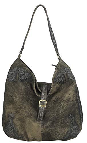 Domelo Tracht Damen Tache Trachtentasche Dirndltasche große Braun Shopper Handtasche Handgelenktasche Vintage Retro Tasche Ledertasche Sch...