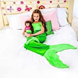#9: Mehakent Mermaid Tail Crocheted Blanket Knitted Sleeping Bag For Children Throw Bed Sofa Wrap Lovely For 4-14 Years In Multi Colors