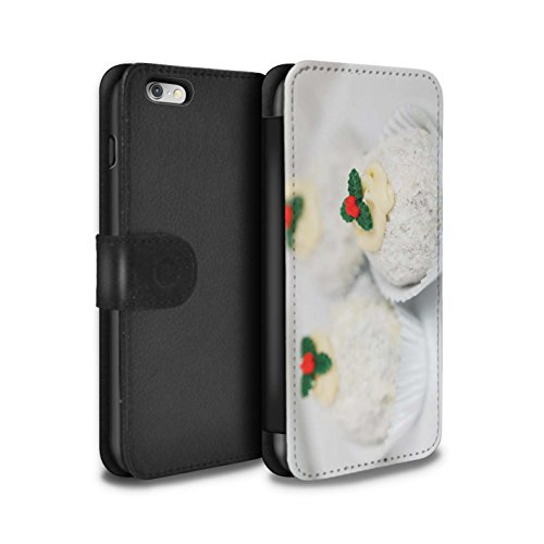Stuff4 Coque/Etui/Housse Cuir PU Case/Cover pour Apple iPhone 6S+/Plus / Bâtons Cannelle Design / Nourriture de Noël Collection Gâteaux Blancs