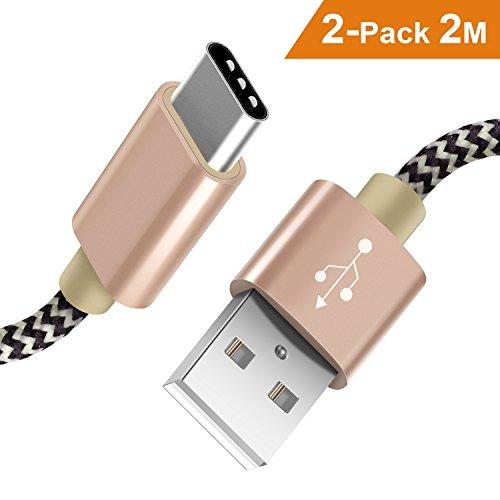 Cargador USB Tipo C Froggen [2-Pack] 2M Carga Rápida USB Tipo C de Nylon Trenzado Dispositivo Compatible for Samsung Galaxy S9/S8/S8+,Nota8,Huawei P9/10,HTC,OnePlus 2/3T,Xiaomi,Sony XZ-Dorado
