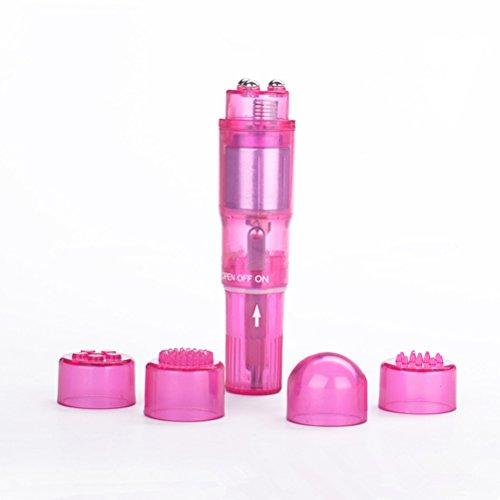 ROSENICE Mini-Massagegerät tragbaren Personal vibrierende Ganzkörper Massagegeräte mit 4 Heads(Pink) -