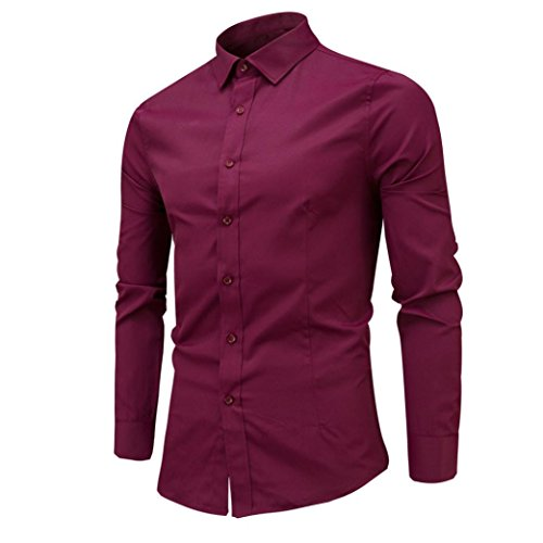 Uomo Camicie Maniche Lunghe Moda Men Shirts Slim Fit Causal Long Sleves Fashion,Yanhoo® Mens Fashion Slim Shirt manica lunga camicia casual vino rosso
