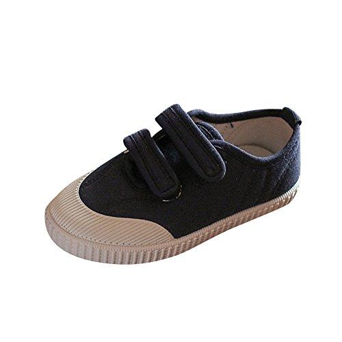 Zapatillas de Deporte de Tela para Unisex Niños Zapatos de Lona con Velcros Cómodo y Transpirable Azul Negro 24