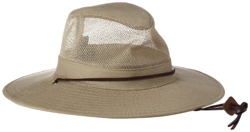 Dorfman Pacific Unisex Cotton Big Brim Mesh Safari Hat Vert - Kaki