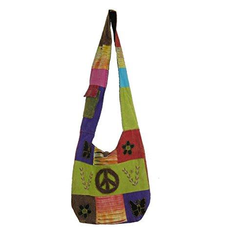 Patchwork Tasche Umhängetasche Handtasche Beuteltasche Tragetasche Schultertasche Shopper bestickt Farbe Peace-Flower (Patchwork-tasche)