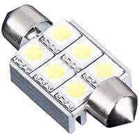 SODIAL(R) 36mm 6 SMD 5050 Bombilla luz 6 LED de coche OBC CANBUS feston cupula blanco puro