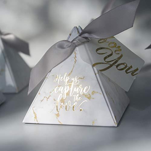 YOURANWISH 50 teile/los Kreative Marmorierung stil Candy Boxen Pyramide Hochzeit Gefälligkeiten Partei Liefert Baby Dusche dank Geschenk Box