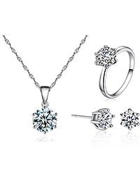 6a6ca52e27e7 SDGDFXCHN Las mujeres collar de plata colgante pendiente anillo circón  sistemas de la joyería para el conjunto…