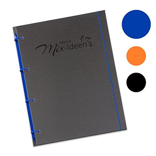 """Schaar-Design flexiNotes® Kochbuch A4 zum Selberschreiben, inkl. 200 Rezepteinlagen für Küchenmaschinen mit Kochfunktion, DIY Rezeptordner als Ringbuch nachfüllbar mit Register, Typ: A4, """"Meine Mix-Ideen"""", Farbe: Königsblau"""