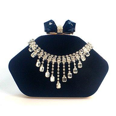 pwne L. In West Woman Fashion Luxus High-Grade Diamond Quaste Samt Abend Tasche Black