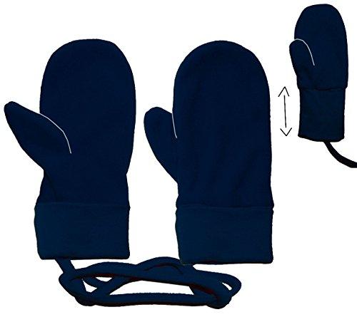 Handschuhe / Fleecehandschuhe - Baby - Gr. 2 Jahre bis 4 Jahre - dunkelblau - Fleece Fäustlinge / Däumlinge mit Daumen - Babyhandschuhe - Erstlingshandschuhe / Fausthandschuh Handschuh Fäustling - Kinder Mädchen Jungen KratzFäustlinge / Däumlinge
